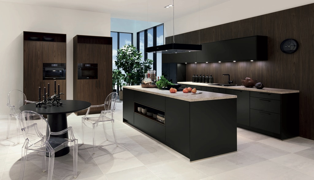 Classic Interiors kitchen island design dark shades contemporary