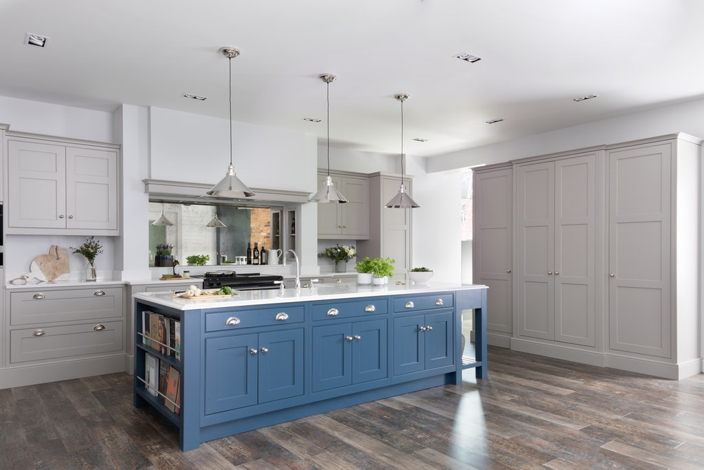 Classic Interiors In Frame Shaker painted kitchen in dusk blue